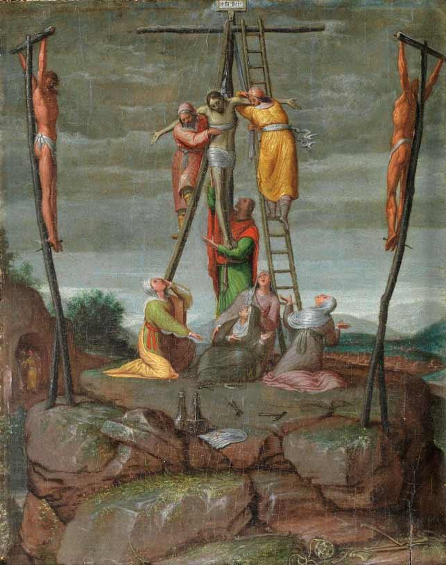 Pedro de Campaña (1503-hacia 1580) - El Descendimiento, óleo/tabla de roble, 25 x 19.5 cm. h1570