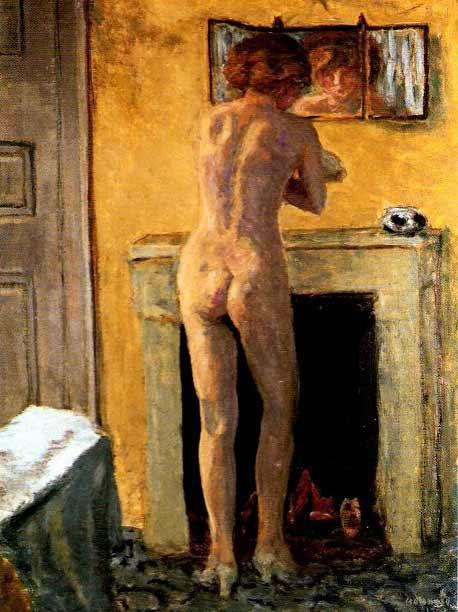 Pierre Bonnard-Desnudo frente a la chimenea