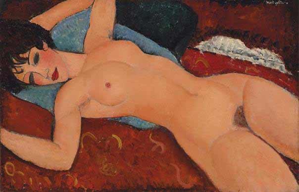 Amedeo Modigliani – Un Couché (Desnudo acostado), 1917-18. Óleo sobre lienzo. 60 x 92 cm. Colección particular.