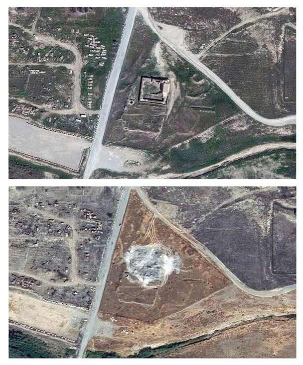 Monasterio de San Elías, vista satélite antes y después de su destrucción