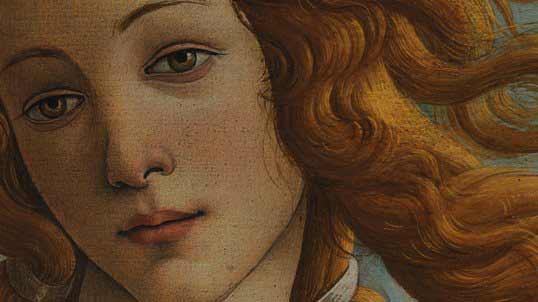 Sandro Botticelli – El nacimiento de Venus (La nascita di Venere), 1482–1485. Temple sobre lienzo. 278,5 x 172,5 cm. Galería Uffizi, Florencia, Italia. Detalle.