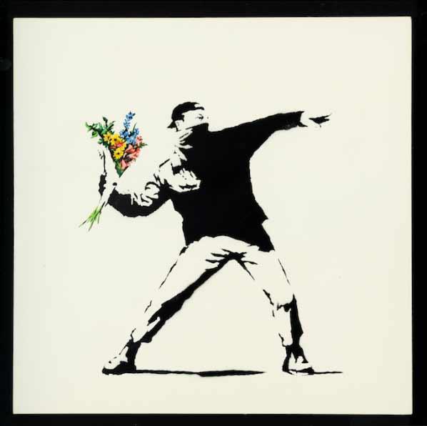 Banksy - Love is in the air (flower trower), 2003, 90x90cm