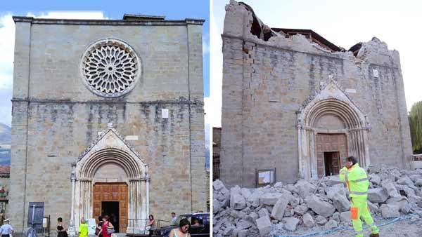 La basílica de San Francisco, en Amatrice, antes y después del seísmo