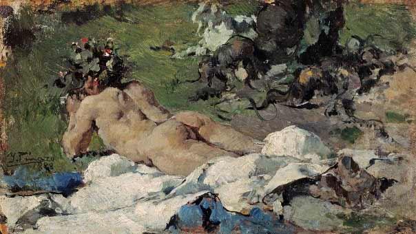 Ignacio Pinazo Camarlench- desnudo, 1888, óloeo sobre tabala, 10,5x18,5, seccion XIX Museo del Prado