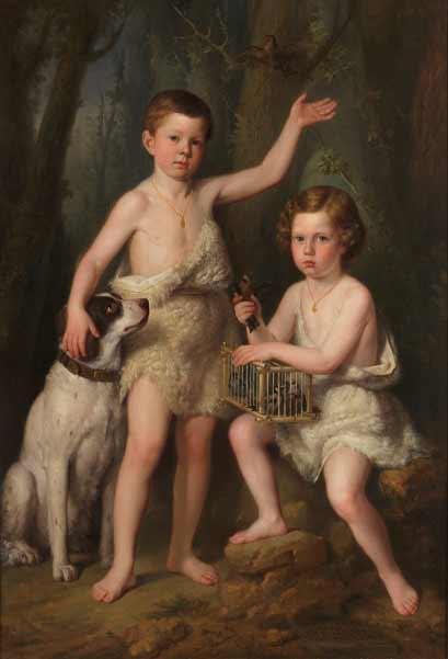 Antonio María Esquivel - Raimundo Roberto y Fernando José, hijos de S.A.R. la infanta Josefa Fernanda, 1855