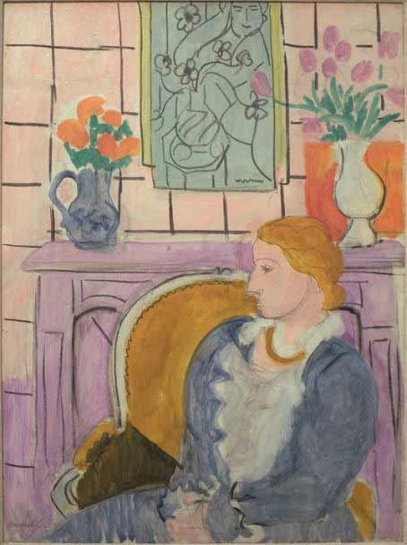 Matisse-Robe bleue dans un fauteuil ocre