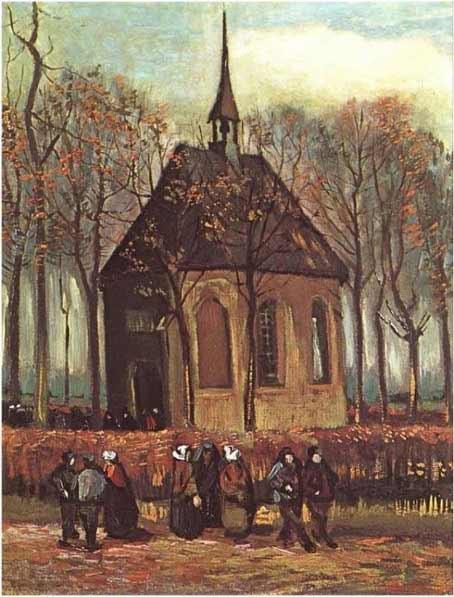 Van Gogh - Feligreses saliendo de la iglesia calvinista de Nuenen