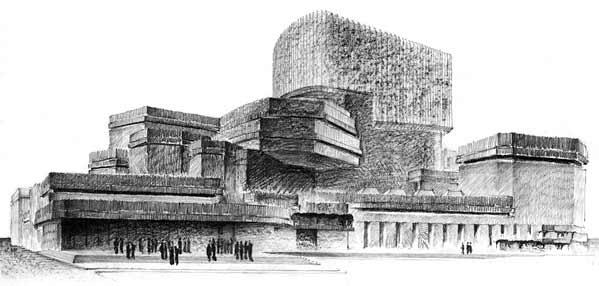 Rafael Moneo - Dibujo del proyecto de la ópera de Madrid, 1964