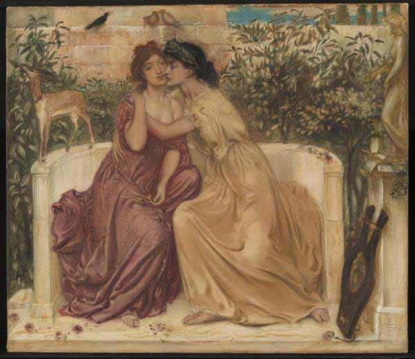 Simeon Solomon (1840-1905) - Sappho and Erinna in a Garden at Mytilene, 1864. Purchased 1980 http://www.tate.org.uk/art/work/T03063