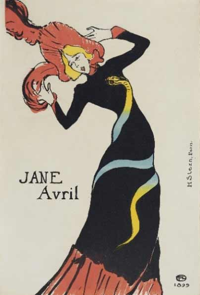 Henri de Toulouse-Lautrec - Jane Avril, 1899. Litografía en color. 55,5 x 37,9 cm. Colección particular