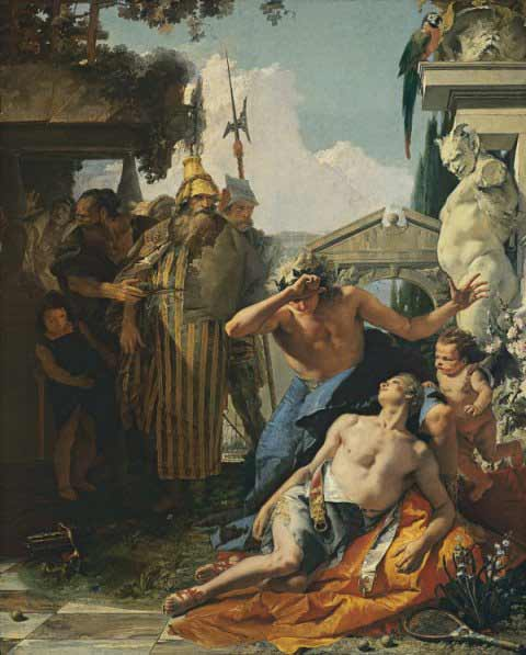 Giambattista Tiepolo - La muerte de Jacinto, c. 1752-1753. Óleo sobre lienzo. 287 x 232 cm. © Museo Thyssen-Bornemisza, Madrid