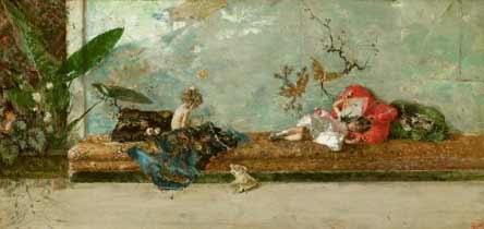 Mariano Fortuny - Los hijos del pintor en el salón japonés, 1874