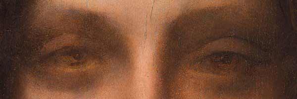 Leonardo da Vinci - Salvator Mundi, detalle de los ojos.