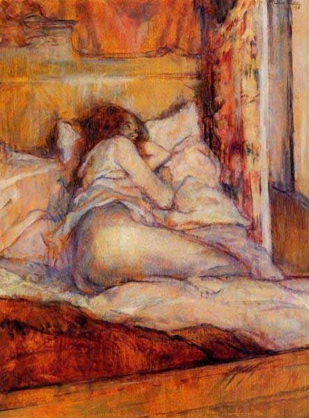 Henri de Toulouse-Lautrec - La cama, 1898. Óleo sobre tabla, 41,6 x 32,1 cm. Colección de Ann y Gordon Getty, San Francisco.