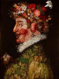 Giuseppe Arcimboldo - La Primavera, 1563. Óleo sobre tabla, 66 x 50 cm. Museo de la Real Academia de Bellas Artes de San Fernando, Madrid.