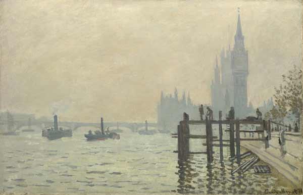 Claude Monet - El Támesis por debajo de Westminster, 1871. Óleo sobre lienzo. 47 x 63 cm. National Gallery. Londres