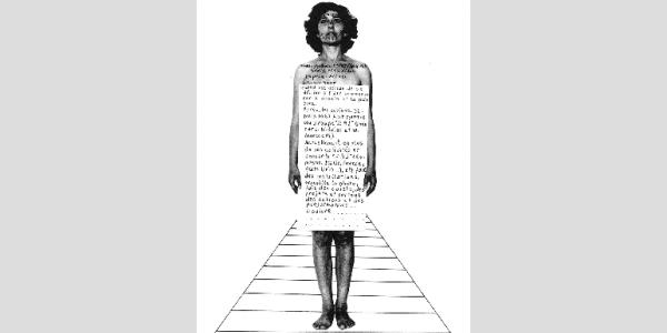 Esther Ferrer - Biografía para una exposición, 1982. Collage. Fotografía y tinta sobre papel. 32,5 x 24 cm. Cortesía de la artista.