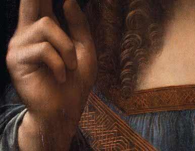 Leonardo da Vinci - Salvator Mundi, detalle de la mano bendiciendo.