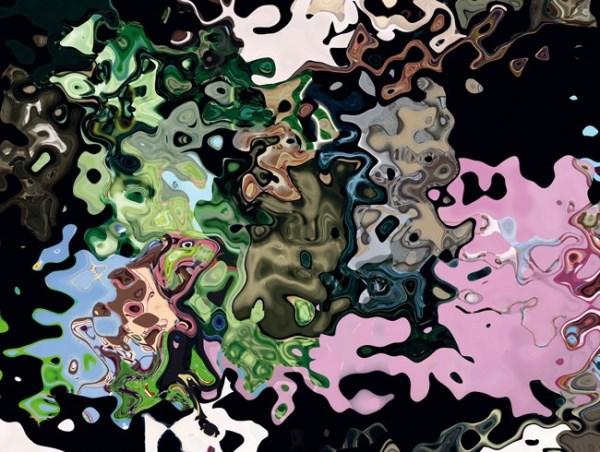 """Daniel Canogar- fotograma de su obra """"Cannula"""", con conversiones de los vídeos más vistos en YouTube a imágenes liquidas y abstractas."""