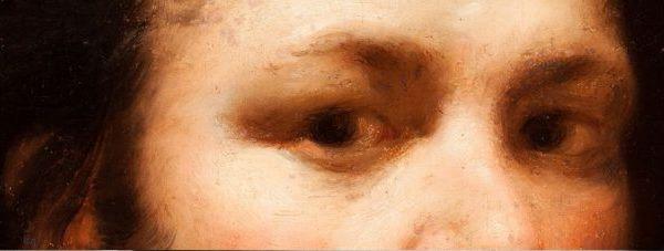 Francisco de Goya y Lucientes, Autorretrato, entre 1775 y 1779. Museo Goya. Colección Ibercaja-Museo Camón Aznar. Detalle.