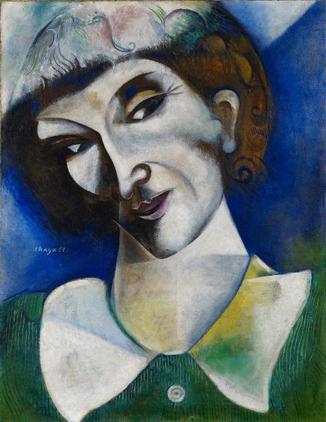 """""""Chagall. Los años decisivos, 1911–1919"""", del 1 de junio al 2 de septiembre de 2018 en el Museo Guggenheim Bilbao Marc Chagall - Autorretrato (Portrait de l'artiste), 1914. Óleo sobre cartón, montado sobre lienzo. 50,5 x 38 cm. Depósito permanente en el Kunstmuseum Basel 2004. Fundación Im Obersteg. © Marc Chagall, VEGAP, Bilbao, 2017."""