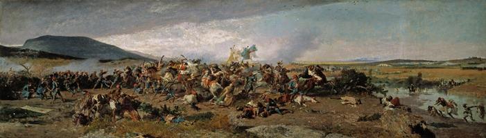Mariano Fortuny y Marsal - La Batalla de Wad-Rass (Episodio de la guerra de África), 1860-1861. Óleo sobre papel pegado en cartón, 54 x 185 cm. Museo Nacional del Prado.