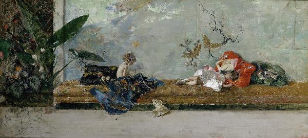 Mariano Fortuny y Marsal - Los hijos del pintor en el salón japonés, 1874. Óleo sobre lienzo, 44 x 93 cm. Museo Nacional del Prado.