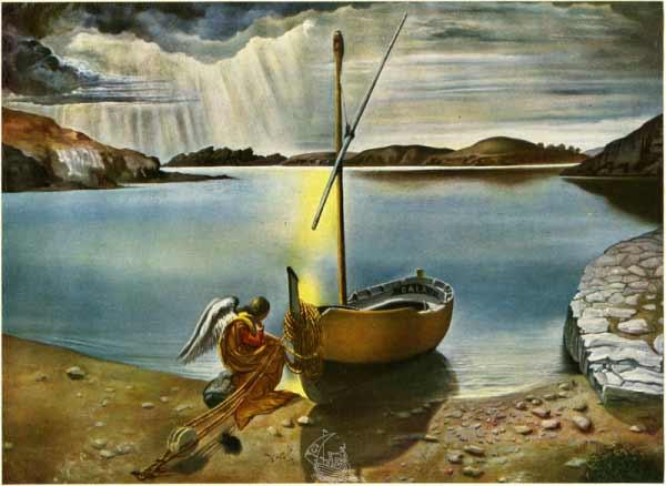Salvador Dalí - L'angelo di Portlligat (El ángel de Portlligat), 1952. Núm. cat. 675. Óleo sobre tela. Colección privada. Firmado y fechado en la parte inferior central: Dalí / 195[2]. © Salvador Dalí, Fundació Gala-Salvador Dalí, Figueres, 2017.