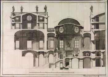Ventura Rodríguez - Proyecto para la escalera del Palacio Real de Madrid sección longitudinal, 1737.