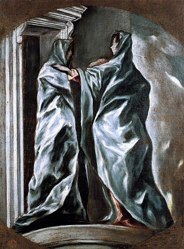 El Greco - La Visitación, 1608. Óleo sobre lienzo. 98 x 72 cm. Dumbarton oaks, Washington.