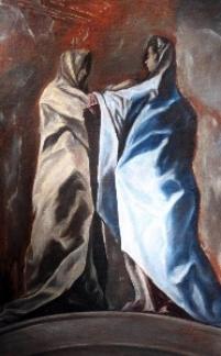 """Doménikos Theotokópoulos, el Greco – """"Visitación"""", obra atribuida a su mano, pendiente de estudio, presentada en el Museo del Greco en Toledo."""