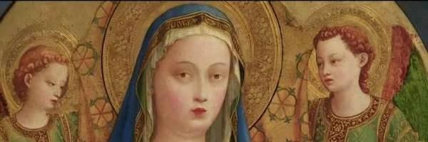 """""""Virgen con el Niño y dos ángeles o Madonna de la granada"""", de Fra Angelico (Guido di Pietro; Florencia, 1390 - Roma, 1455). Detalle."""