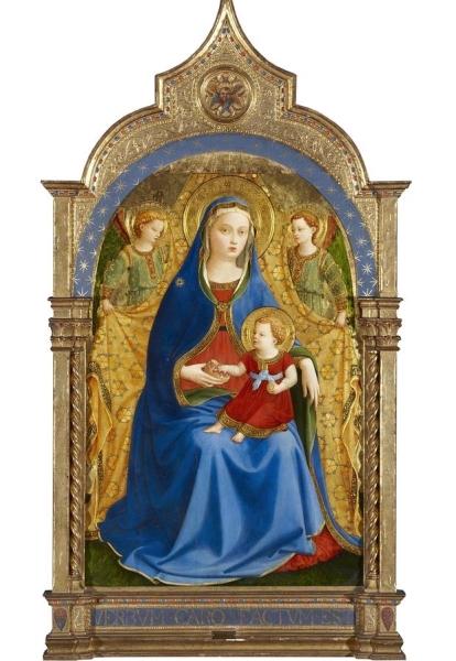 """""""Virgen con el Niño y dos ángeles o Madonna de la granada"""", de Fra Angelico (Guido di Pietro; Florencia, 1390 - Roma, 1455)."""