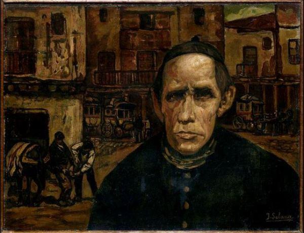 José Gutiérrez Solana - El cura de la aldea, 1923. Una de las treinta y tres obras que ha donado el mecenas Plácido Arango al Museo de Bellas Artes de Asturias.