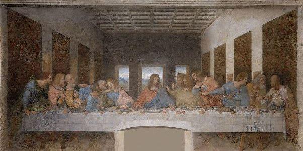 Leonardo da Vinci – La última cena, 1495 – 1497. 880 x 460 cm. Mural al temple y óleo sobre yeso, en el refectorio del convento dominico de Santa Maria delle Grazie, en Milán, Italia.