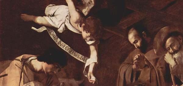 Caravaggio - Natividad con San Francisco y San Lorenzo, 1609. Óleo sobre lienzo. 268 x 197 cm. Detalle.