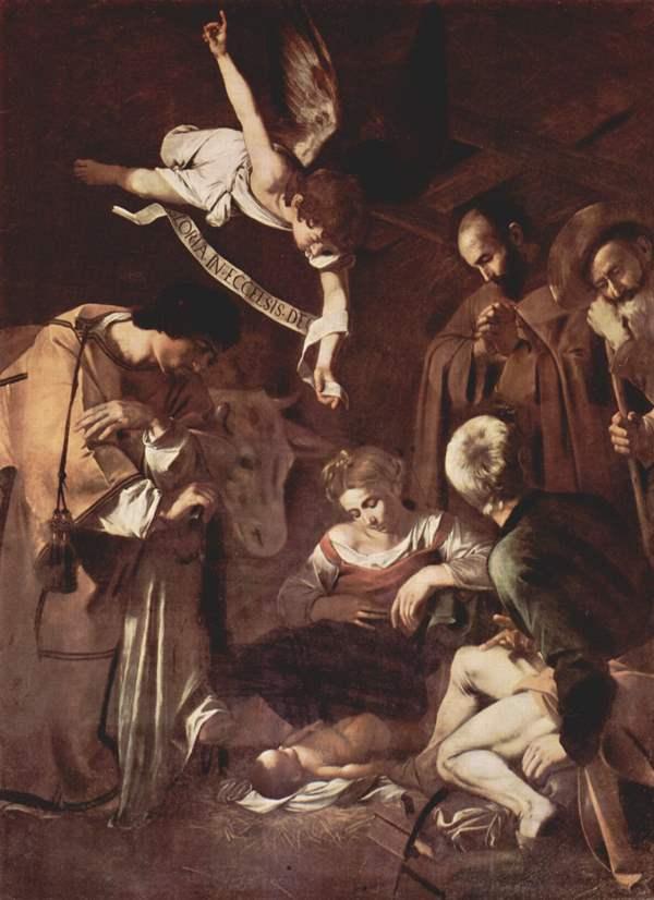 Caravaggio - Natividad con San Francisco y San Lorenzo, 1609. Óleo sobre lienzo. 268 x 197 cm.
