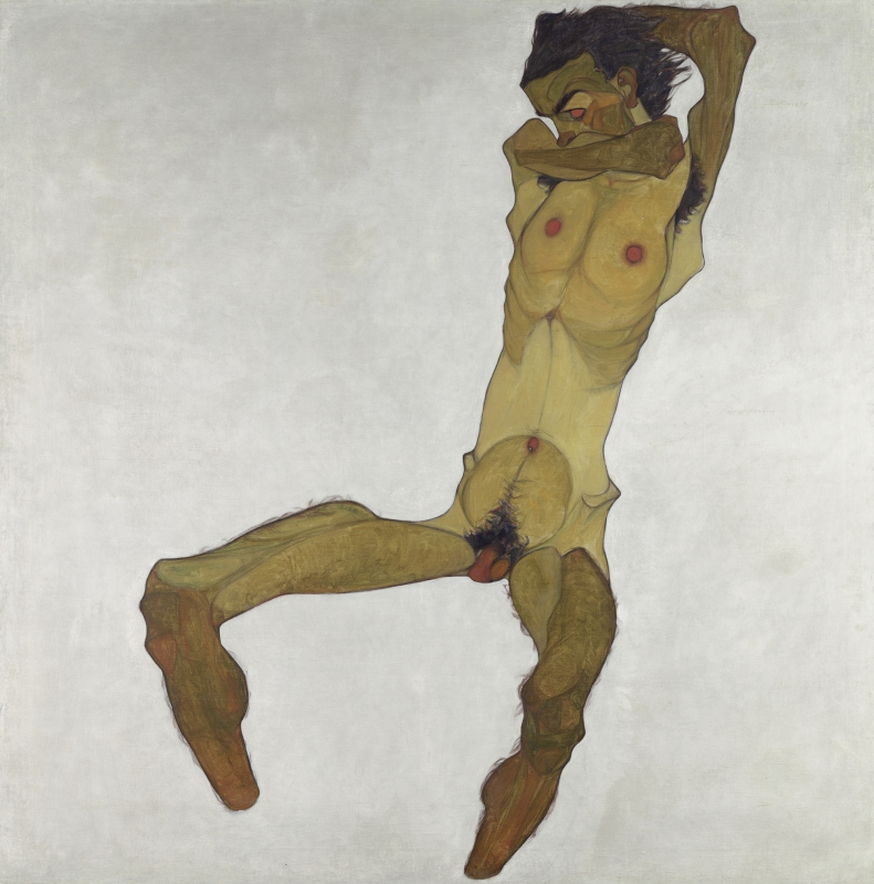 Egon Schiele (1890–1918) - Seated Male Nude (Self Portrait), 1910. Oil on canvas, 152,5 x 150 cm. © Leopold Museum Vienna, Inv. 465. Photo: Leopold Museum, Vienna.
