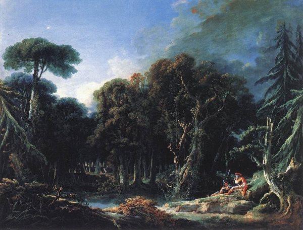 François Boucher - El Bosque, 1740. Óleo sobre lienzo. 131 x 163 cm. Museo del Louvre. París. Una de las treinta y una obras expuestas en para que los herederos puedan reconocer las obras y recuperarlas, y así el Estado Francés resarcir y devolver lo robado.
