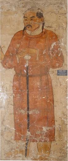Fresco representando a un Guardia de la Dinastía Liao, 200 x 83 cm. Chifeng Museum.