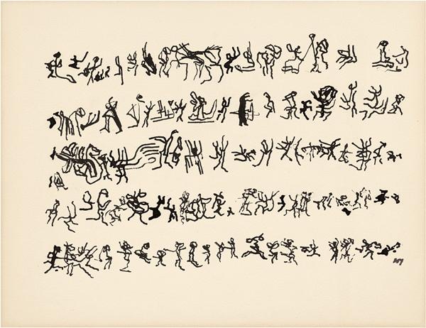 Henri Michaux - Sin título, 1963. Tinta china sobre papel. 32,2 x 41,7 cm. Colección particular. © Archives Henri Michaux, VEGAP, Bilbao, 2018. Foto: Jean-Louis Losi.