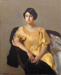 El arte y la moda. Joaquín Sorolla - Elena con túnica amarilla, 1909. Óleo sobre lienzo, 112 x 92 cm. Colección privada.