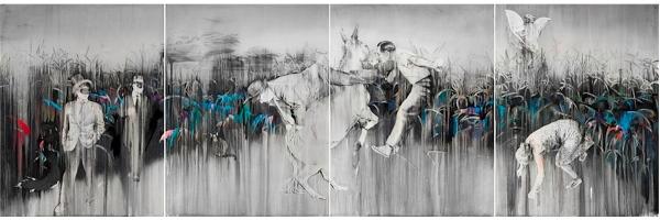 Jose Luis Puche - En el nombre de los pájaros, 2017. Carbón graso, pastel graso y lápiz de color sobre papel Saunders Waterford. 202×616 cm.