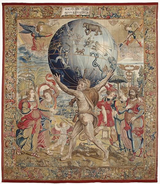 Hércules sostiene la esfera celeste – Tapiz de manufactura bruselense, atribuido a Bernard van Orley, siglo XVI. Palacio Real de la Granja de San Ildefonso. Patrimonio Nacional.