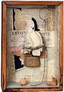 Joseph Cornell - A Parrot for Juan Gris, 1953-54. Box construction. 45.1 x 31 x 11.7 cm. The Collection of Robert Lehrman, courtesy of Aimee and Robert Lehrman. Photo The Robert Lehrman Art Trust, courtesy of Aimee and Robert Lehrman. Photography: Quicksilver Photographers, LLC. © The Joseph and Robert Cornell Memorial Foundation/VAGA, NY/DACS, London 2015.