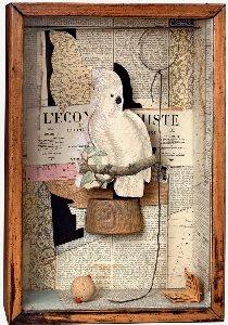 Joseph Cornell - A Parrot for Juan Gris, 1953-54. Box construction. 45.1 x 31 x 11.7 cm. The Collection of Robert Lehrman, courtesy of Aimee and Robert Lehrman. Photo The Robert Lehrman Art Trust, courtesy of Aimee and Robert Lehrman. Photography: Quicksilver Photographers, LLC. © The Joseph and Robert Cornell Memorial Foundation/VAGA, NY/DACS, London 2015.