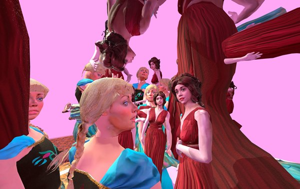 Paul McCarthy - c.s.s.c. Coach Stage Stage Coach VR experiment Mary and Eve, 2017. Virtual Reality Artwork. Director: Paul McCarthy. Cast: Mary (red) - Rachel Alig, Eve - Jennifer Daley. Production: Alex Stevens, Naotaka Hiro, Jody Joyner. Special Thanks: Karen McCarthy, Damon McCarthy, Dylan Huig and Luisa Aguilar. Courtesy the artist and Khora Contemporary. © Paul McCarthy and Khora Contemporary.