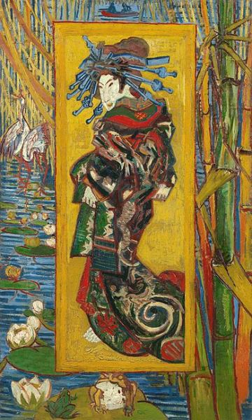 Van Gogh - The Courtesan (after Eisen), 1887. Oil on canvas. 105.5 cm × 60.5 cm (41½ in × 23¾ in). Van Gogh Museum, Amsterdam.
