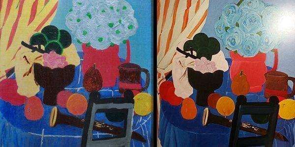 """Imagen de un bodegón de primera época de Fernando Botero, de 1963. A la izquierda, la falsificación y a la derecha, la obra auténtica reproducida en la página 177 del libro """"Fernando Botero. La búsqueda de un estilo: 1949-1963"""". Christian Padilla. Editorial La Bachué."""