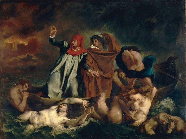 Eugène Delacroix – La Barque de Dante o Dante et Virgile aux enfers (La barca de Dante o Dante y Virgilio en los infiernos), 1822. Óleo sobre lienzo. 189 x 241 cm. Musée du Louvre, Paris. © Musée du Louvre.